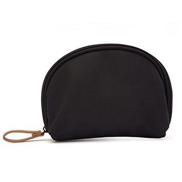 HaloVa Toiletry Bag, Mini Travel Cosmetic Bag, Portable Waterproof Makeup Pouch Tote Organizer Bag for Women Girls, Small, Black