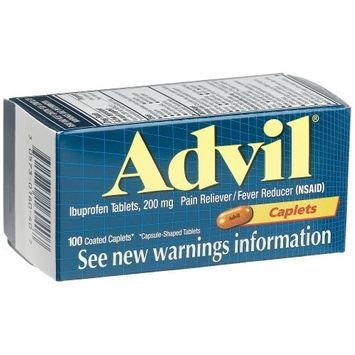 2 Pack Advil Pain Reliever/Fever Reducer 100 Coated Caplets Each