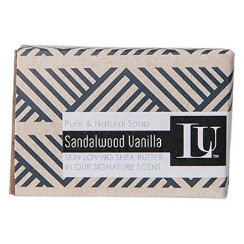 Handmade Natural Soap Bar with Premium Olive Oil & Coconut Oil - Made in USA, Indiana (Sandalwood Vanilla, 1 Pack)
