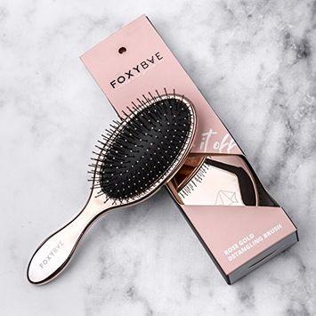 FoxyBae Rose Gold Detangling Brush - Professional Hair Detangler Brush for Women, Men, Kids, Best Paddle Brushes with Soft Bristles, Detangle Brush for Curly, Thick, Long, Dry, Wet Hair