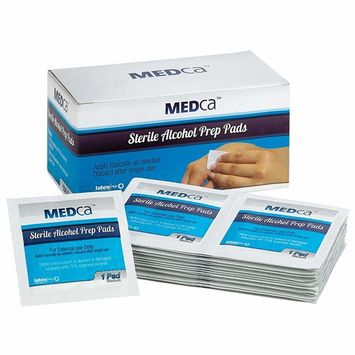 MEDca Excellent Alcohol Prep Pads, Sterile in Medium with 2-Ply - Pack of 100
