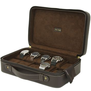 Watch Case- 10 Timepieces Briefcase Design in Leather Brown with Contasting Stitching and Handle