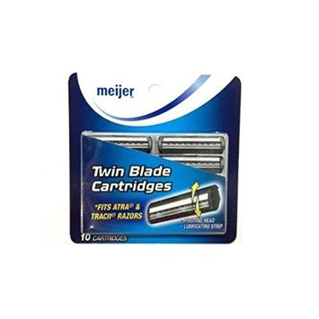 Twin Blade Cartridges with Lubricating Strip, 10 Count + FREE LA Cross 71817 Tweezer
