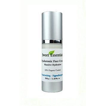 HYALURONIC ACID HYDRATING FACE CREAM - 83% Organic - Premium Anti Wrinkle Creams Formula - Reduce Wrinkles, Fine Lines, Brighten and Tighten the Skin - Top Wrinkle Reduction Cream - Day and Night Mois