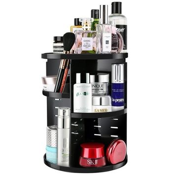 Luxspire Makeup Organizer 360 Degree Rotation Adjustable Makeup Storage Box Case Rotating Cosmetics Jewelry Organizer Holder Fits Toner, Creams, Makeup Brushes, Lipsticks and More