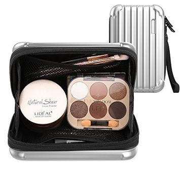 Luxspire Makeup Cosmetic Storage Case, Portable Make up Train Case Cosmetic Box Handbag Travel Storage Bag Toiletry Organizer Tool with Carrying Strap, Silver