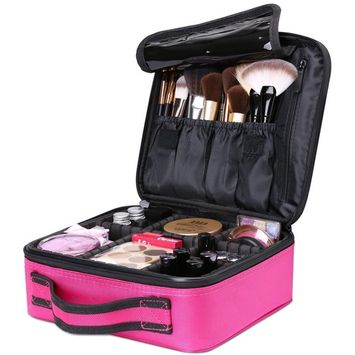 Travel Makeup Box, Luxspire Cosmetic Makeup Case Professional Makeup Train Case Portable Cosmetic Case Makeup Bag Organizer with Adjustable Dividers for Makeup Brushes - Rose Red