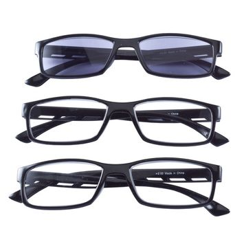 Reading Glasses with Sunreader, Set of 3 - Black, Magnification 3.00X
