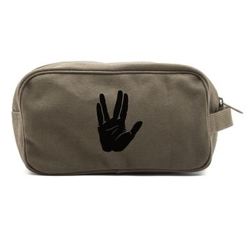 Star Trek Live Long and Prosper Hand Dual Two Compartment Toiletry Dopp Kit Bag
