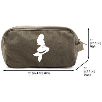 Mermaid Cartoon Canvas Shower Kit Travel Toiletry Bag Case