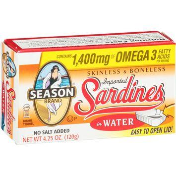 Seasons Season Skinless & Boneless Sardines in Water, 4.25 oz, (Pack of 12)