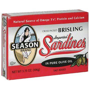 Seasons Season Sardines in Pure Olive Oil, 3.75 oz(Pack of 12)