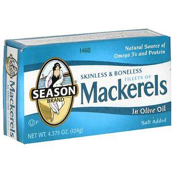 Seasons Season Skinless & Boneless Mackerel In Olive oil, 4.38 oz (Pack of 12)