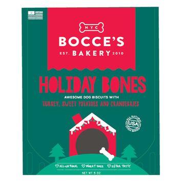 Bocce's Bakery Holiday Bones Dog Treat - Natural, Turkey, Sweet Potato and Cranberries size: 5 Oz