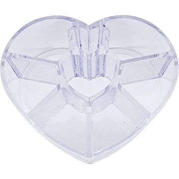 Clear Small Heart Shaped Makeup Holder for Beauty Cosmetics - Transparent Acrylic Plastic Storage Case Organizer Display for Lipsticks Eyeshadow Lipgloss Pens Brushes - 8 Slot