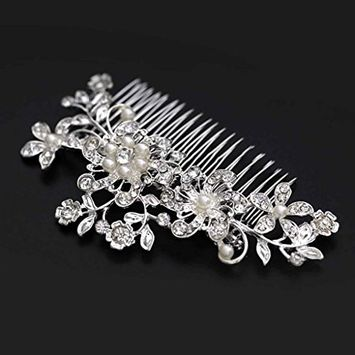 HuntGold 1X Women Wedding Bridal Rhinestone Flower Hair Comb Claw Hairpin Hair Ornaments Accessory(silver)