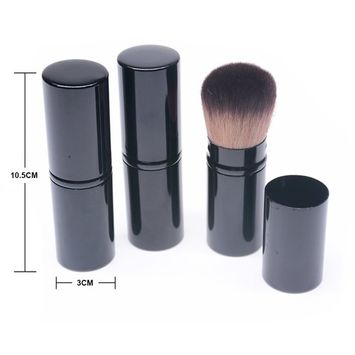PPat Premium Cosmetic Beauty Makeup Minerals Powder Brush Portable Retractable Kabuki Brush Foundation Blush Brush Cosmetic Tool 3 Sets (Black)