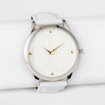 Women's Lace Dial Strap Watch - A New Day™ White