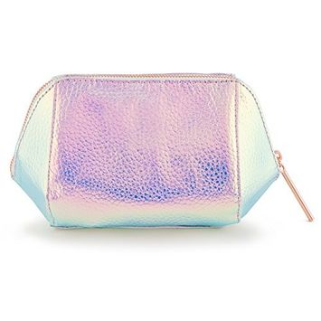 Holographic Cosmetic and Makeup Bag Made of Iridescent Pebbled Faux Leather (JB50)