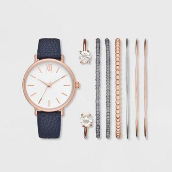 Women's Roman Strap Watch Set - A New Day™ Rose Gold/Navy