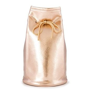 Rose Gold Portable Drawstring Cosmetic, Makeup and Toiletry Bag Pouch – Premium Faux Leather, Small and Portable (JB55)