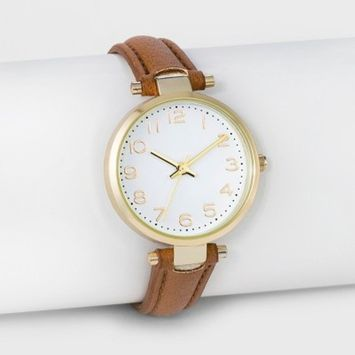 Women's Easy Read Strap Watch - A New Day™ Brown