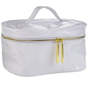 Large White Patent Vegan Leather Cosmetic Makeup Toiletry Organizer Bag for Travel & Storage