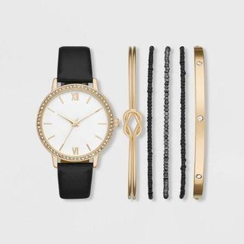Women's Roman Glitz Strap Watch Set - A New Day™ Gold/Black