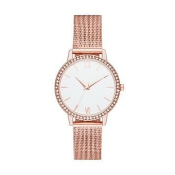 Women's Crystal Mesh Strap Watch - A New Day™ Rose G