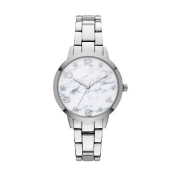 Women's Marble Finish Dial Bracelet Watch - A New Day™ Silver