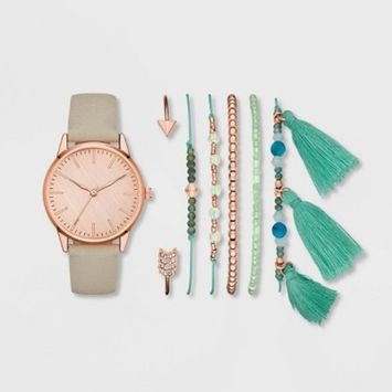 Women's Clean Dial Strap Watch Set - A New Day™ Rose Gold/White