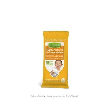 Elements Naturals Natural & Compostable Baby Wipes - Unscented - 80 ct