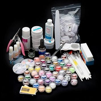 Lookatool 42 Acrylic Nail Art Tips Powder Liquid Brush Glitter Clipper Primer File Set Kit