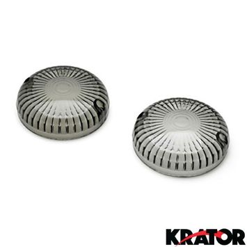 Krator® Smoke Turn Signal Lens Lenses Indicator Blinkers For Yamaha V-Star 1100 Classic / Custom (All Years)