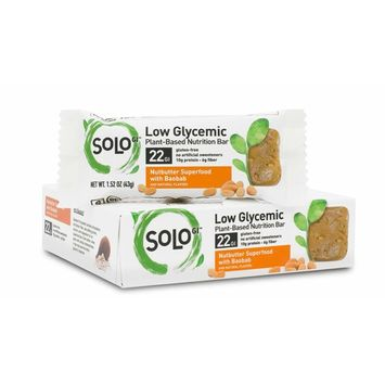 SoLo Nutbutter Superfood Nutrition Bar - Gluten Free, Low Glycemic with 10 grams of Protein, 1.52oz (43g) (1 Box of 6 Bars)