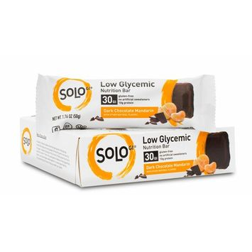 SoLo Dark Chocolate Mandarin Nutrition Bar - Gluten Free, Low Glycemic with 12 grams of Protein, 1.76oz (50g) (1 Box of 6 Bars)