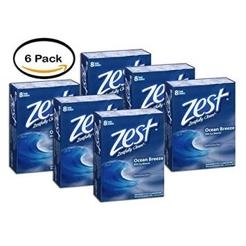 PACK OF 6 - Zest Ocean Breeze Refreshing Bar Soap, 4 oz, 8 count