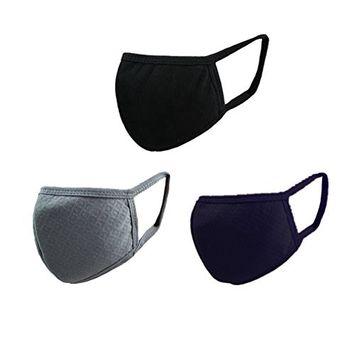 FakeFace Adult Face Masks Activated Carbon Cotton Masks Dust Allergy Flu Masks For Breathe Healthy Filters Dust, Pollen, Allergens, Flu Germs - 3 Pieces