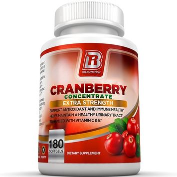 BRI Nutrition 3X Strength 12,600mg CranGel Power Plus: High Potency, Maximum Strength Cranberry SoftGel Capsules Fortified with Vitamins C and Natural E - 180 Softgels