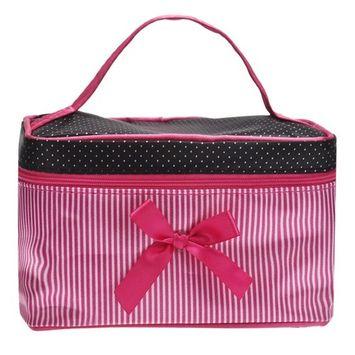 NOMENI Women's Fashion Square Bow Stripe Cosmetic Bag