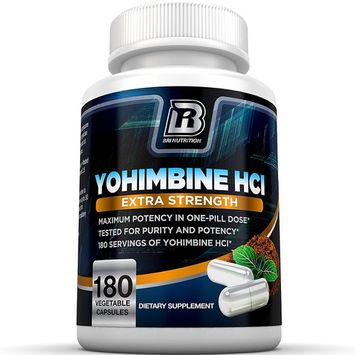 BRI Nutrition Yohimbine HCI - 2.5mg Yohimbe HCL Supplement Natural Metabolism Booster for Fat Burning, Weight Loss and Enhanced Performance 180 Vegetable Cellulose Capsules