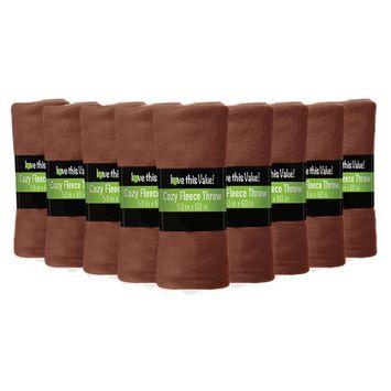 Imperial Home 24 Pack Premium Super Soft Cozy Fleece Throw Blanket - 50