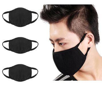 3 Pcs Unisex PM 2.5 Pollen Dust Face Mouth Mask Anti Dust Activated Carbon Cotton Warm Masks Filter Respirator Reusable Washable Allergy Flu Gauze Mask for Women&Men, All Black