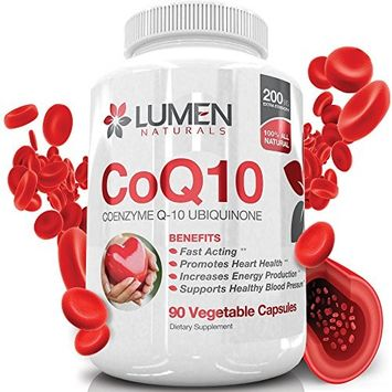 CoQ10 200mg - Pure Coenzyme Q10 Ubiquinone Capsules - High Absorption Natural Supplement for Heart Health - Promotes Cellular Energy to Fight Fatigue & Support Healthy Blood Pressure