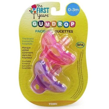 The First Years GumDrop Newborn Pacifier, Girl (Pack of 2)
