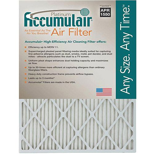 14x25x1 (13.5 x 24.5) Accumulair Platinum 1-Inch Filter (MERV 11) (4 Pack)
