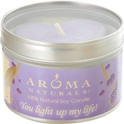 SERENITY AROMATHERAPY ONE 6.5 inch TIN SOY AROMATHERAPY CANDLE WITH PURPLE HEART. COMBINES THE ESSENTIAL OILS OF LAVENDER AND YLANG YLANG TO ENHANCE INNER BALANCE AND WELL-BEING. BURNS APPROX. 40 HRS. for WOMEN