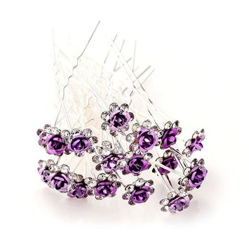 MISM Bridal Girls Rhinstone Hair Pins Women 20 Pack U-sharped Flower Wedding Decorative Hair Accessories