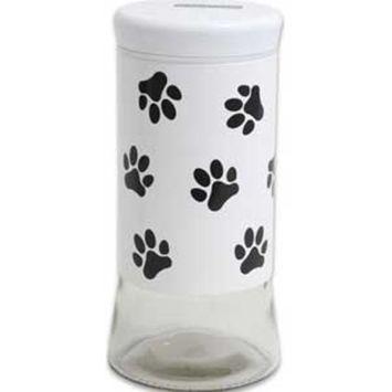 White Treat Jar 50.5oz Paw Print Jar