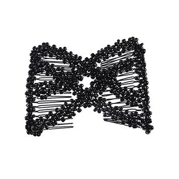 MISM Women Magic Elastic Hair Combs Slides DIY Hairstyle Making Tools Beads Metal Hair Clips Accessories Black